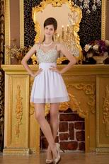 Straps Ivory Chiffon Sweet 16 Dress With Beading