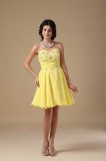 Yellow Chiffon Fabric Stylish 2014 Top Sweet 16 Dress