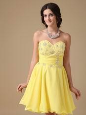 Yellow Chiffon Fabric Stylish 2014 Top Sweet 16 Dress
