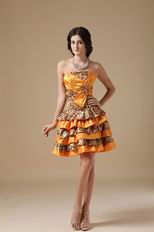 Sun Orange Leopard Fabric Layers Skirt Sweet 16 Dress