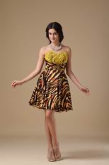 Designer Tiger Printed Fabric Sexy Sweet 16 Dress