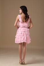 Lovely Pink Sweet Sixteen Dress With Ruffles Knee Length Skirt