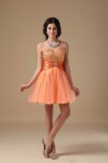 Sweetheart Orange Dresses For Sweet 16 Party Wear