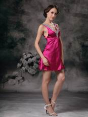 Deep V-neck Knee Length Fuchsia Sweet 16 Dress