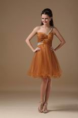 Ocher One Shoulder Neckline Sweet 16 Girl Dress