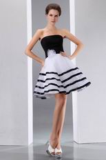Strapless White Organza Sweet 16 Dress With Black Stripe