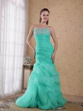 Sweetheart Turquoise Organza Mermaid Prom Dress With Beading
