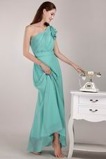 One Shoulder Turquoise Long Junior Bridesmaid Dress