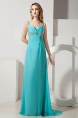 Straps Ruched Bodice Turquoise Chiffon Prom Dress With Beading