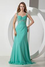 Beaded Straps Turquoise Blue Chiffon Prom Celebrity Dress