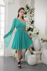 Turquoise One Shoulder Long Sleeve Homecoming Dress