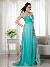 Split Skirt One Shoulder Appliqued Turquoise Prom Wear Dress