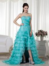 Turquoise Organza Layers High-low Skirt Dress Prom Wear
