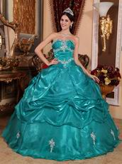 Medium Turquoise Organza Quinceanera Dress At Wholesale Price