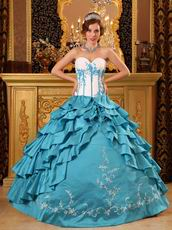 Layers Skirt Teal Blue Floor Length Quinceanera Dress