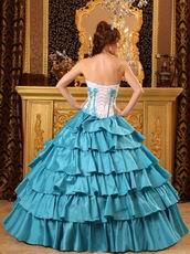 Layers Skirt Teal Blue Floor Length Quinceanera Dress