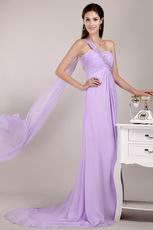 Lavender Chiffon Prom Dress Design With One Shoulder Watteau Skirt