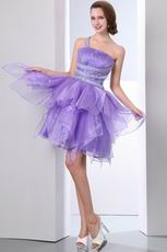 Affordable One Shoulder Crystals Lavender Graduation Dress