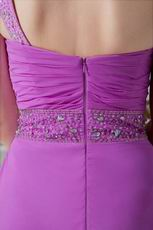 Inexpensive Crystals Plum One Shoulder Evening Dress