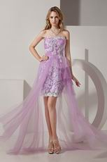 Lovely Sweetheart Short Front Long Back Lilac Short Prom Dress