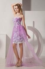 Lovely Sweetheart Short Front Long Back Lilac Short Prom Dress
