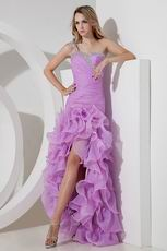 Elegant One Shoulder High Low Lilac Evening Dress Cheap