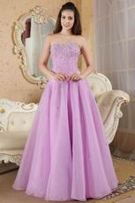 Floor Length Elegant Lilac Sweetheart A-line Prom Dress With Beading