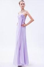 Elegant Flowers Decorate Empire Waist Lilac Chiffon Prom Girl Dress