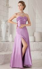 Lilac Strapless Floor-length Bridesmaid Dress Side Split