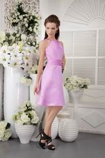 Lilac High-neck Knee-length Short Prom Dress Under 100 US Dollar