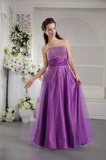 Strapless Beading Emberllish Dark Violet Prom Dress 2014