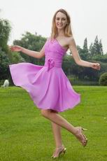 Mallow Chiffon One Shoulder Bridesmaid Dress For Girls