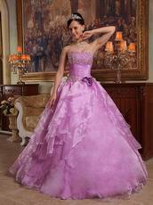 Lilac Quinceanera Dress to 16th Girl With Handmade Flower