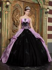 Strapless Appliqued Puffy Quinceanera Gown Lilac And Black