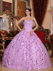 Floor-length Lilac Sequins Skirt Dress To Quinceanera Party