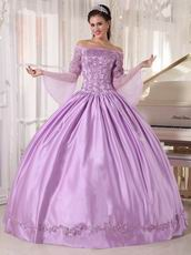 Off Shoulder Half Sleeves Lilac Puffy Skirt 2014 Quinceanera Dress