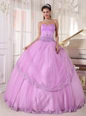 Lilac Strapless Applique Emberllishment Quinceanera Gown Stylish