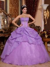 Lilac Organza Strapless Quinceanera Dress Discount Style