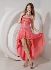 2013 Top Designer Watermelon Sequin High-low Prom Dress
