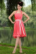 Pretty Halter Pink Bridesmaid Dress With Ribbon On Sale
