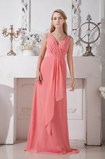 Inexpensive V-Neck Watermelon Wedding Party Prom Dress