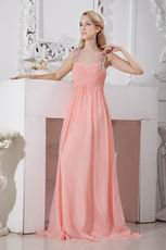 2014 New Arrival Column Pink Chiffon Sweetheart Vest Evening Dress