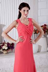 Criss-Cross Pink Skirt With High Split Evening Dress