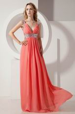 Inexpensive Straps Floor Length Watermelon Chiffon Prom Dress