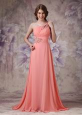 One Shoulder Watermelon Chiffon Cheap Dress For Prom 2014 Wear