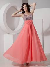 Straps Watermelon Best Prom Dress With Sequin Bodice