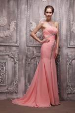 Watermelon Strapless Fishtail Skirt With Split Evening Dress