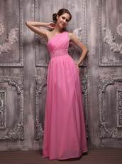 Designer One Shoulder A Skirt Hot Pink Evening Dress Customized