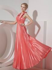 Pleated Halter Floor-length Skirt Watermelon Prom Dress Cheap
