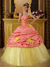 Watermelon Quinceanera Dress With Hand Made Yellow Flower